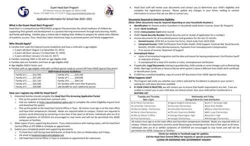 Head Start Registration for SY 2020-2021